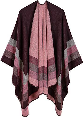 Shmily Girl Damen Poncho Habe Gestrickt Kaschmir Überdimensionalen Decke Kap-Schal (One Size, Streifen/Kaffee)
