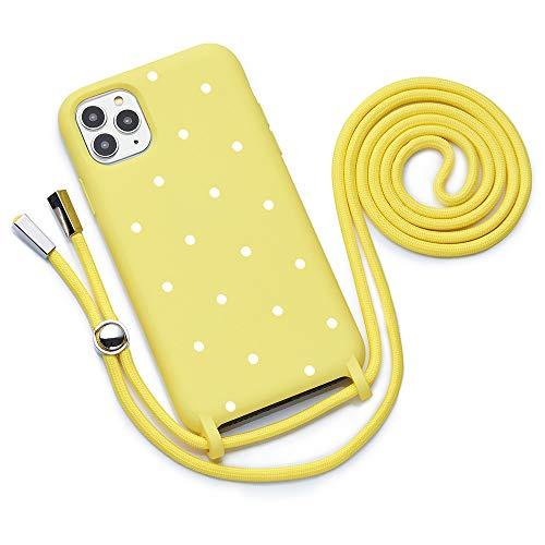 Qult Funda con Cuerda Compatible con iPhone 11 Pro MAX Carcasa de movil con Colgante Cadena Suave Silicona Necklace Bumper Case Amarillo Motivo Puntos Blancos