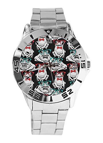Modische Herren-Armbanduhr mit Frosch und Brille, Sport-Armbanduhr für Damen, lässig, Edelstahlarmband, analoge Quarz-Armbanduhr