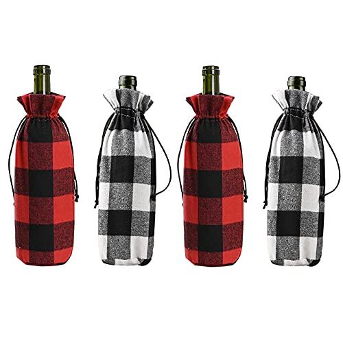 YLSZHY Paquete de 4 fundas para botellas de vino navideñas, bolsa de botella de vino con cordón para Navidad, bodas, vacaciones, Año Nuevo