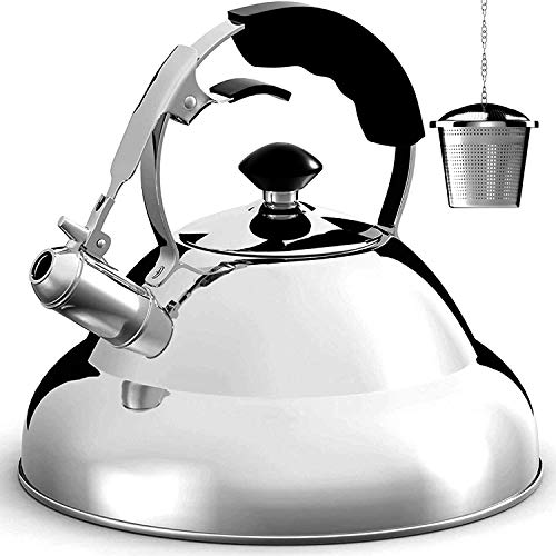 Tea Kettle Stovetop Whistling Tea Pot  275 Quart Stainless Steel Tea Maker Infuser Included Single Handle Teapot
