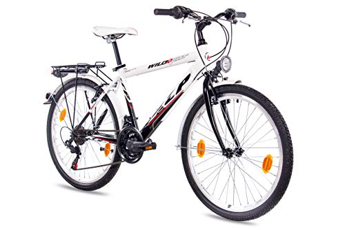 KCP 24' City Comfort Cruiser Youth Bike Boys Wild Cat 18S Shimano Black White - (24 Inch)
