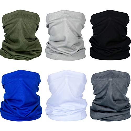6 Pieces Summer Face Cover UV Protection Neck Gaiter Scarf Sunscreen Breathable Bandana for Men Women (Polyester)