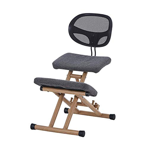 Ergonomic Kneeling Chair, with Backrest Height-Adjustable Home Office Wooden Knee Posture Chair with Knee Support,Gray
