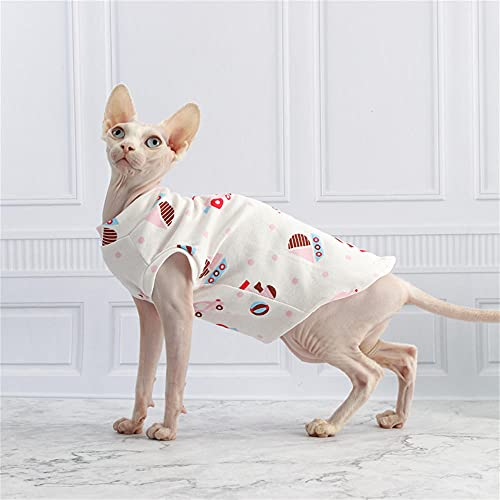 NELIT Hairness Cat Camiseta de algodón con Estampado de Dibujos Animados Sphynx Cat Clothes-White Vest_L
