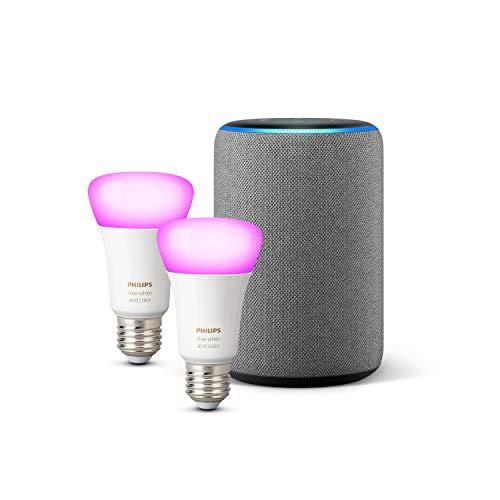 Amazon Echo (3ª gen.), Tessuto grigio mélange + Lampadine intelligenti a LED Philips Hue White & Color Ambiance, confezione da 2 lampadine, compatibili con Bluetooth e Zigbee (non è necessario un hub)