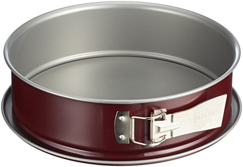 Dr. Oetker BackLiebe Moule à charnière bicolore Ø 26 cm avec fond plat Moule à gâteau rond avec revêtement anti-adhésif bicolore (gris/rouge) Quantité : 1 pièce, acier