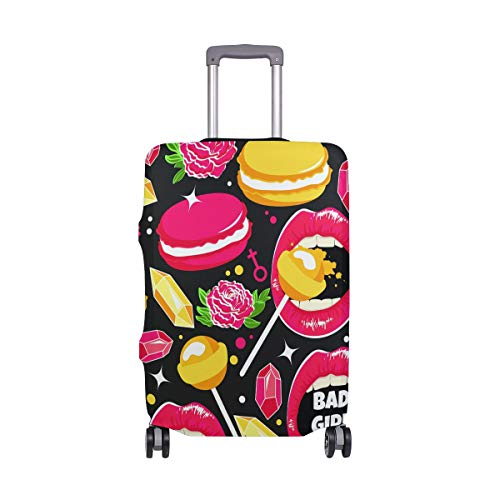 Travel Luggage Cover Protector Bad Girl Lips Suitcase Baggage Cover Spandex for Adult Women Men Teen Fits 22-24 Inch