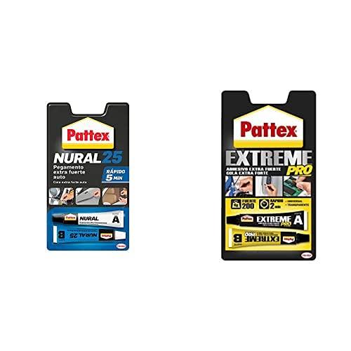 Pattex Nural 25 Pegamento Extra Fuerte Auto, Para Coche Rápido, 2 X 11 Ml + Extreme Pro, Adhesivo Universal Transparente, Fuerza Y Resistencia, 22Ml