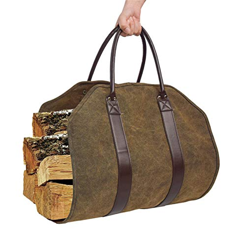 SHDT Log Carrier, Canvas Firewood Bag with Leather Handles, Firewood...