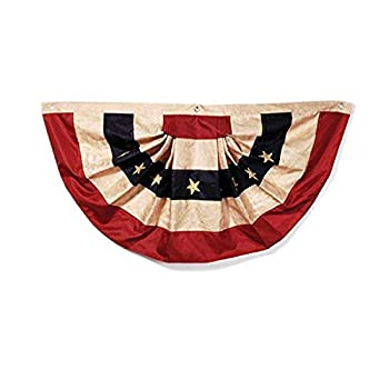 """Darice Tea Stained American Flag Bunting–48"""" x 25"""" –Easy to Hang Patriotic Decoration for Indoor/Outdoor Use Holds up to Weather USA Bunting for Holidays or All Year Long Polyester 1-Piece"""