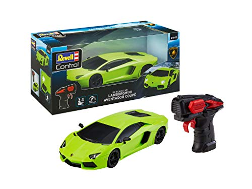 Revell Control 24663 RC Scale Car Lamborghini Aventador, GHz-Fernsteuerung für Rechts-/Linkshänder, Frontbeleuchtung, 1:24, 19,9 cm ferngesteuertes Auto, grün