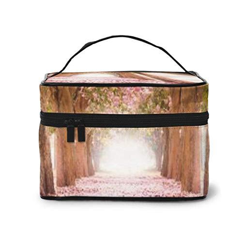 Le Tunnel Romantique des Arbres de Fleurs Roses Travel Train Case Cosmetic Case Organizer Portable Storage Bag