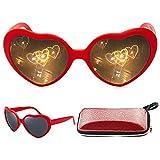 Heart Effect Diffraction Glasses, Women Interesting Peach Heart Special Effects Eyeglasses