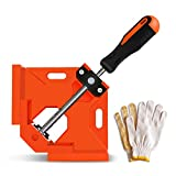 Frylr Right Angle Clamps 90 Degree /Adjustable Corner Clamp Holder Tools with Swing Jaw with Pair of Gloves for Carpenter, Welding, Wood-working, Engineering, Photo Framing Ramdon Color (Gray/Orange)