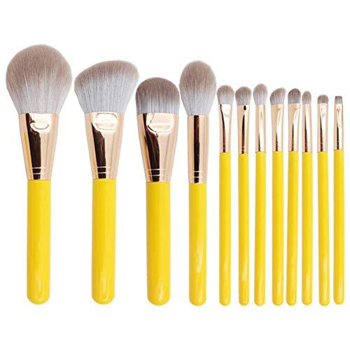 GONGFF 12pcs Professionnel Doux Maquillage Jaune brosses Ensemble Fondation Poudre ombrage Brosse complète Fonction Maquillage cosmétique Outils kit