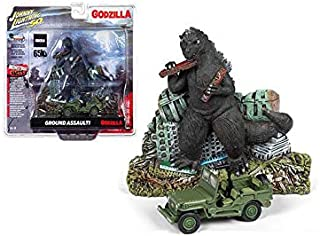 Johnny Lightning New DIECAST Toys CAR 1:64 Silver Screen Machines DIORAMAS 2019 Release 1 - Godzilla POLYRESIN Relief with Japanese Police Reserve Corp. Willys MB Jeep JLSP065-24