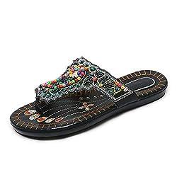 Black Flip-Flop Beaded Rhinestone Open Toe Flat Slippers
