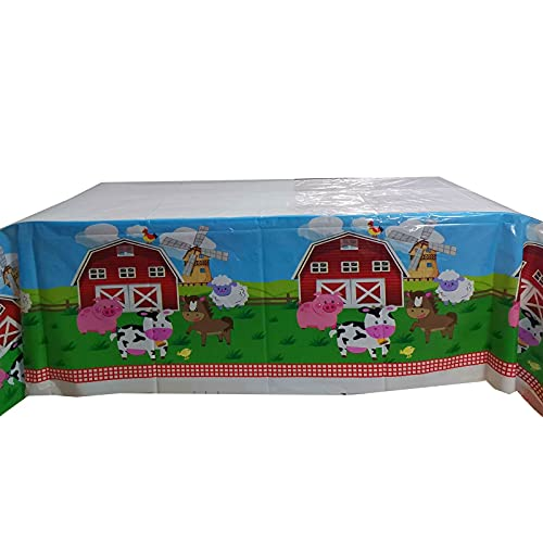 Farm Animals Table Cloth Barnyard Animal Farm Themed TableCover for Kids Birthday Wedding Baby Shower Party Supplies and Decoration, 71 × 43 inch