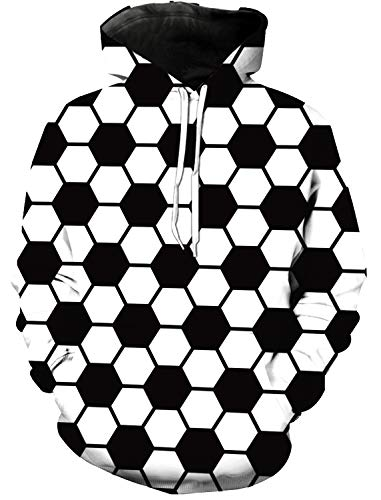 Women and Men's 3D Printed Hoodie, Black White Football Geometric Pattern Novelty Sweater, Leisure Hoodies with Big Pockets, Drawstring Pullover Hooded Sweatshirts