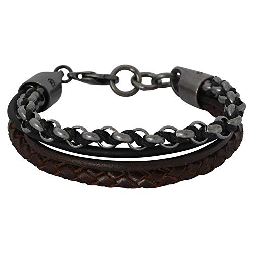 Fossil Bracelet in Black Leather and Gray Stainless Steel for Men JOF00393040