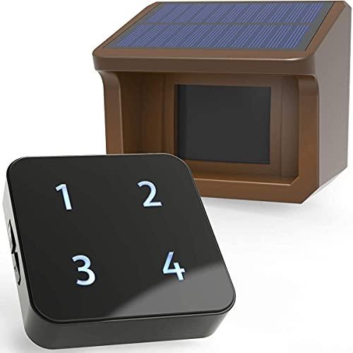 Sistema de Alarma Solar Remota de Entrada de 800m - 3 Niveles Ajustables de Sensibilidad - Sensor Impermeable de Exterior DIY Sistema de Alarma de Seguridad- 1 Receptor y 1 Detector