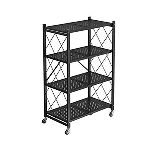 QAQA Kitchen Shelf, Multifunctional 3-Shelf 4-Shelf Folding Shelving Unit, Movable Goods Rack with Wheels, Shelving Units and Storage Home Kitchen Laundry Closet Storage