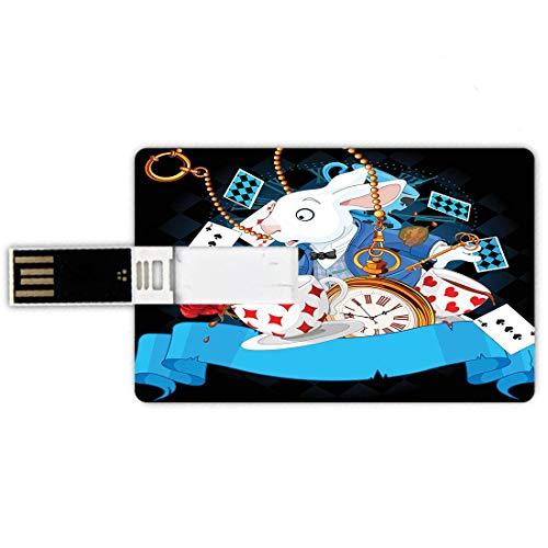 64GB Chiavette USB a forma di carta di credito Alice nera nel paese delle meraviglie Memory Card stile carta di credito Coniglio stupefacente con tazze di movimento cuori rosa fiore personaggio carton