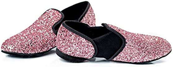 Hand Crafted Glitter Jazz Dance Shoe for Kids Ages 3-10 (Ballet Pink, Numeric_12)