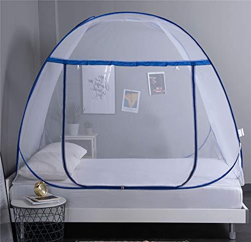 Amea Moskitonetz Bett-Überdachung, Faltbar Automatische Installation Jurte Camping Moskitonetze, Insektenschutz Repellent, Pop Up Zelt Vorhänge Für Betten Schlafzimmer-Dekor,Blue/b,180cm