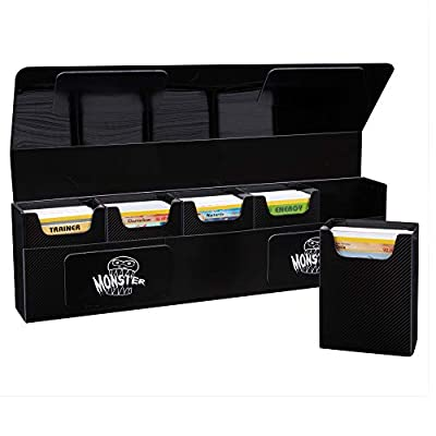 The Hydra 5 Compartment Riveted Deck Box w Magnetic Closure- Trading Card Case Holds Five Decks- Fits All Standard and Smaller Size MTG and TCGs - Black