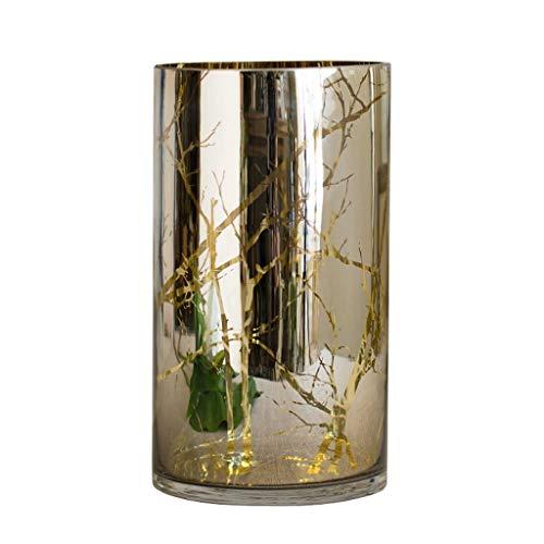 BYN Glas Tall Cilinder Bloem Vaas Potje Verkrijgbaar in 2 maten 25cm/30cm Hoog, Moderne Eenvoudige Pot voor Droge bloemen Hydroponics Plant, Ideale Decoratie voor Thuis Bruiloft Kantoor en Feest, Goud