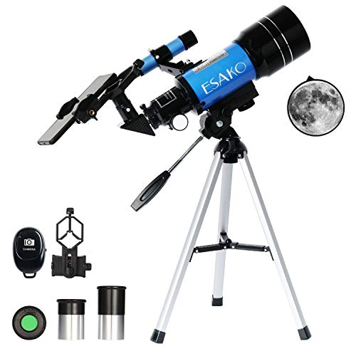 ESAKO Telescope for Kids & Beginners 70mm Portable Astronomical Refractor Telescopes with Phone Mount & Remote Control Gift for Birthday