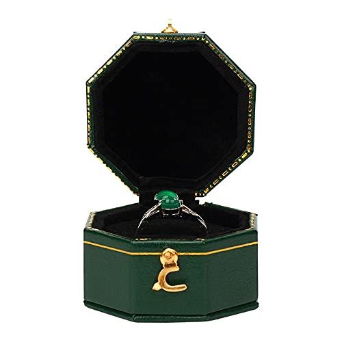 XKMY Cajas de regalo de anillo mini caja octogonal negra de piel sintética avanzada de la vendimia de la joyería recomendada caja de anillo de diamante de boda (color verde)