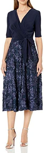 Alex Evenings Women s Tea Length Dress with Rosette Detail Navy Tie Front 10 product image