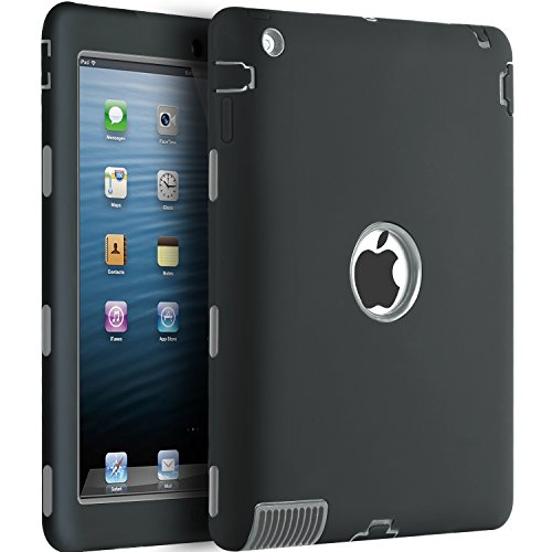 iPad 2 Case,iPad 3 Case,iPad 4 Case,BENTOBEN Heavy Duty Rugged Shock-Absorption / High Impact Resistant Hybrid Three Layer Full Body Protective Case Cover for iPad 2/3/4 Retina (Black/Gray)