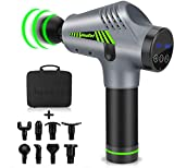 Massage Gun Deep Tissue, Quiet Muscle Percussion Back Neck Head Hammer Massager for Athletes, Pain Relief, 30 Speed Level, LED Touch Screen with 8 Heads and Carrying Case