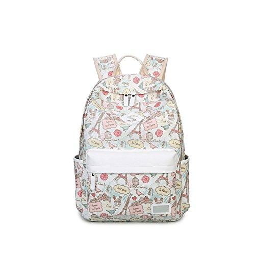 Qearly Unisex Scolaire Loisirs Poids léger Sac à dos Sac a dos cartable Backpack Daypack-Blanc crémeux 1