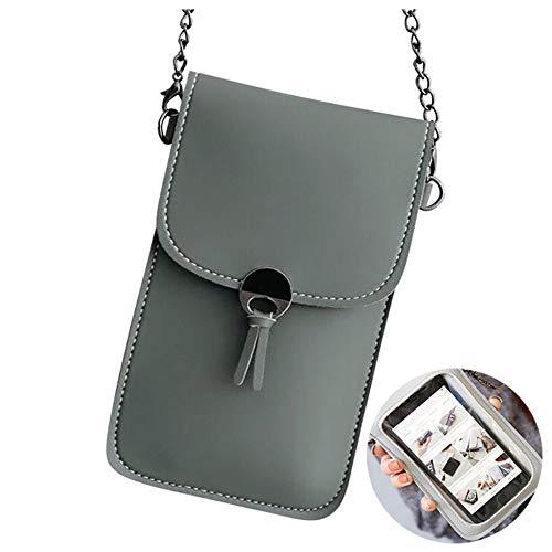 Touchable Pu Leder Handytasche, Womens Phone Bag Geldbörse Clear Window, Damen Mini Kleine Handtasche Umhängetasche Umhängetasche, Für Smartphone Unter 6 Zoll (Gray, 1PCS)
