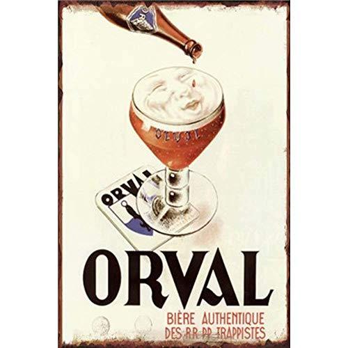 None Brand Orval Biere Retro Wanddekoration Metall Blechschild bemalt Kunst Poster Dekoration Plakette Warnung Cafe Garage Party Spiel Zimmer Türschilder