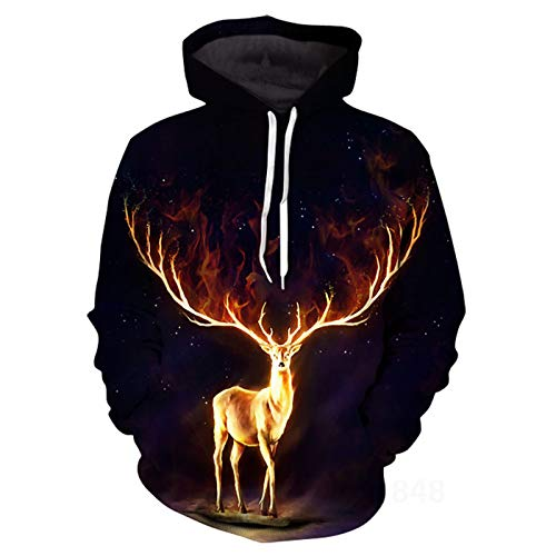 SLYZ Men's Autumn and Winter New Personality Fashion 3D Starry Sky Animal Print Large Size Casual Hooded Men's Sweater Jacket
