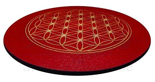 atalantes spirit Blume des Lebens Untersetzer - Set 6 Stück für Gläser - Farbe Rot, Größe 9,5cm, Lebensblume Wurzelchakra