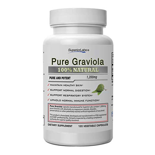 Superior Labs  Pure Natural Graviola NonGMO  1,200mg, 120 Vegetable Caps Natural Dietary Soursop Supplement  Healthy Skin & Helps Promotes Cell Growth  Respiratory System - Balanced Mood