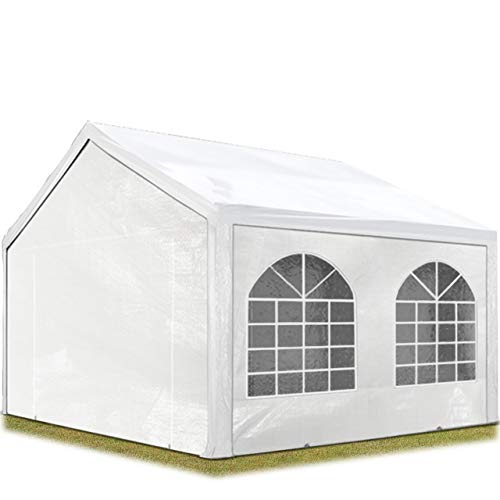 TOOLPORT Hochwertiges Partyzelt 3x3 m Pavillon Zelt 240g/m² PE Plane Gartenzelt Festzelt Wasserdicht weiß