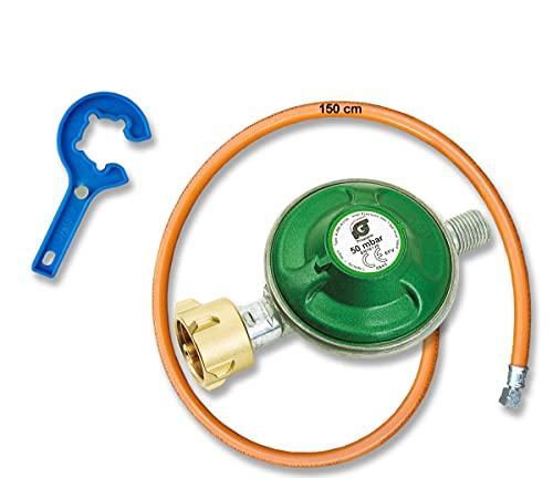 CAGO Gasregler Druckregler Druckminderer 50 mbar mit Gas-Schlauch 150 cm + Gasregler-Schlüssel - Reglerlöser mit Magnet, Schlauch-Regler Anschluss-Set