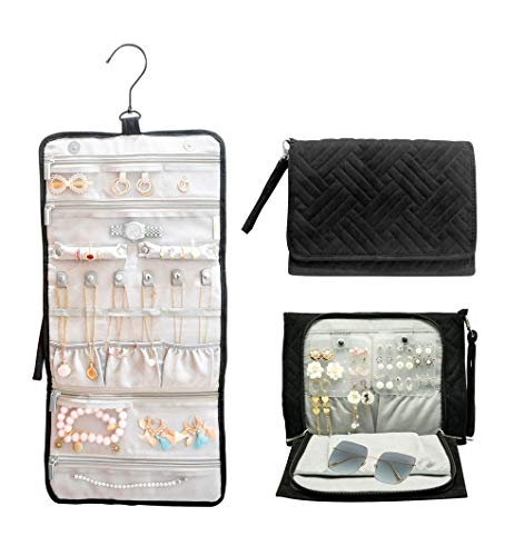 ILOVA Journey Travel Hanging Black Jewelry Organizer Case Foldable Jewelry Roll with Hanger  Rings Necklaces Bracelets Earrings Sunglass Unique Gift Travel Pouch Storage Bag for Women Wife Mom