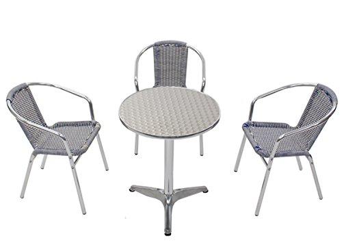ガーデン4点セット ガーデンテーブル4点セット ガーデンテーブルセット 人工ラタン アルミチェア ガーデンチェア ロビーチェア スタッキングチェア ビーチチェア スタッキング アウトドア リゾート ラタン (人工) 青 白 ブルー&ホワイト L24W-B