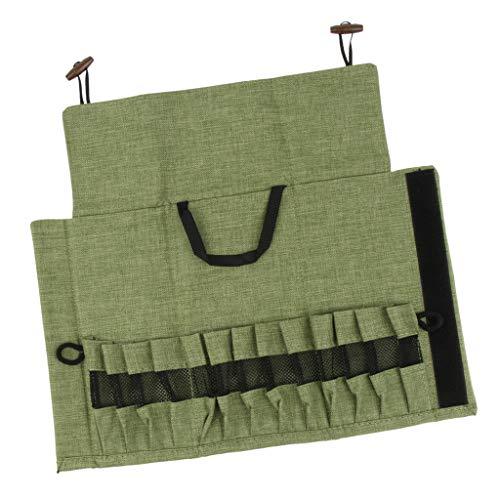P Prettyia Camping Bestecktaschen Besteckbeutel Besteckhalter für Messer Gabel Löffel - Armeegrün