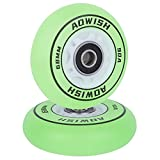 AOWISH Light Up Mini Ripstik Wheels 68mm LED Flash Ripster Wheels 90A Flashing Ripstick DLX Mini Caster Board Replacement Wheel with Bearings ABEC-9 (2-Pack) (Green)