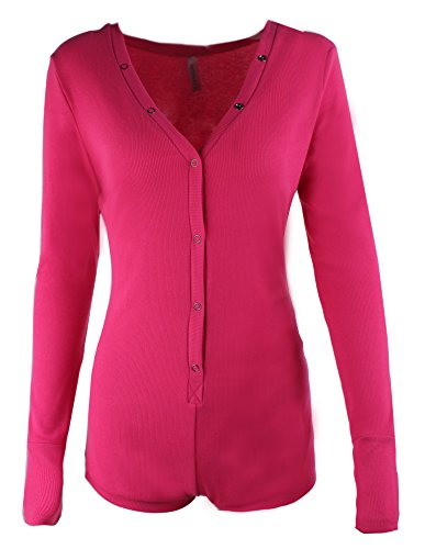 Moxeay Sexy V-Neck One Piece Bodysuit Long Sleeve Bodycon Rompers (X-Large, Rose Red)